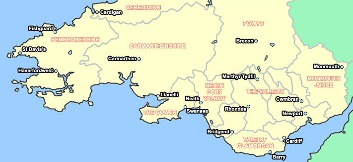 click on the map to find holiday cottages in south wales